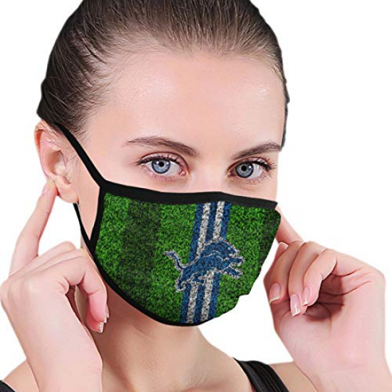 Adults Dust Face Cover Washable Mouth Guard Soft Breathable Lightweight Stylish for NFL Team Detroit Lions face cover Blue,Green,Dark green,Black